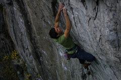 Rock Climbing Photo: Jeremy having a little too much fun on NWO - Brett...
