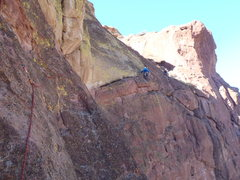 We started from Super Slab, took the 5.7 sport route to the right, then ended up at Commie Pinkos. Another 7 or 8 after Commie Pinkos we topped out and hiked down Misery Ridge.