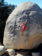 Rock Climbing Photo: At the crux.  Photo by Tom Michael