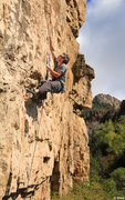 Rock Climbing Photo: Andre with the long reaches, Rex Luthor (5.11).