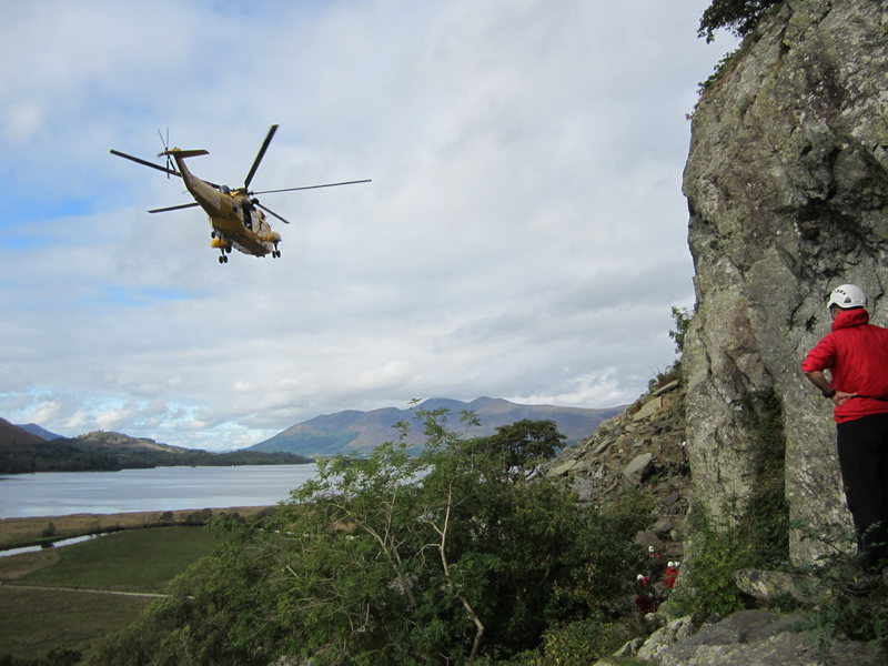 Rock Climbing Photo: Helicopter rescue on Shepherds Crag. Borrowdale