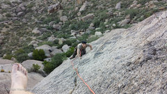 Rock Climbing Photo: The climb gets really slabby for the last 1/3, so ...