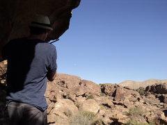 Rock Climbing Photo: Rocco 10-76s us at Moonshine Roof.  Hueco Tanks, T...