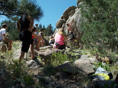 Rock Climbing Photo: Huge posse throws down at the Freight Train Boulde...