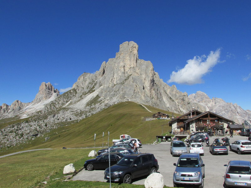 Monte Gusela, Passo Giau summit. Very crowded and a hard place to park.