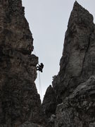 Rock Climbing Photo: Another party following us down Torre Latina's abs...
