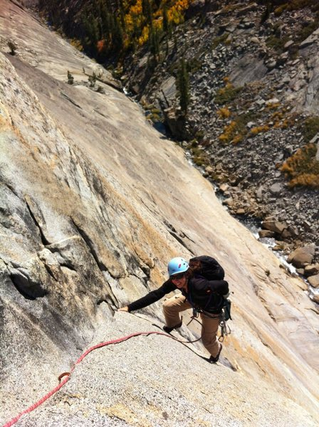 A sea of white granite and Fall colors in full effect. Nearing the top of the 3rd pitch.