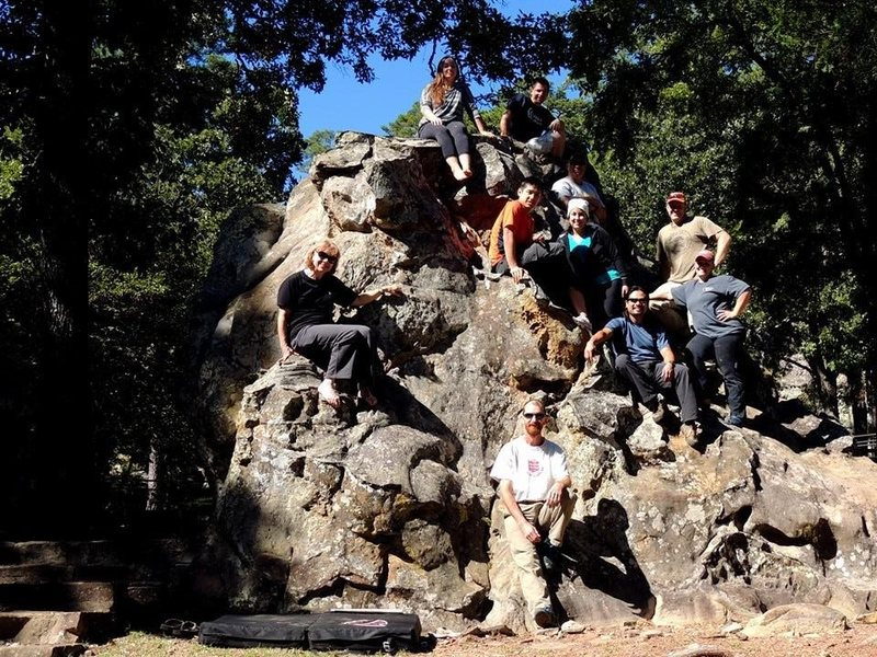 Texas Mountaineers on a beginners climbing trip.  This is Boulder 1, the pad is under Walk in the Park V0.