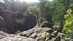 Taken from Devil's Slide, the main boulder in the picture by the grass is Mushroom boulder.