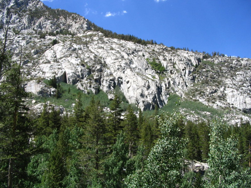 Overview of the Wild Rose Buttress as viewed from South Lake Road. The Columbine Cracks are located on the smaller buttress near the left edge of the photo.