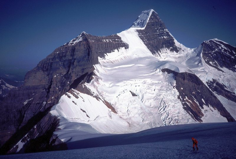 Mt Robson from Mt Resplendent August 1990.<br> note how ice bulge on Kain Face has fallen off but SE face is more broken than Ed Cooper photo. The SE face was much more broken in 2008 http://www.pbase.com/nolock/image/97234433/large