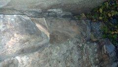 Rock Climbing Photo: P2 - Large flake (3ft long) broke off below roof
