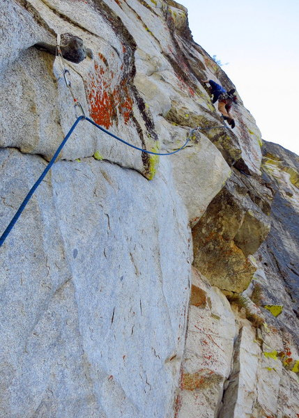 caughtinside nears the P1 belay on Eagle Buttress Right after pulling some wild steep moves off the horn. <br> <br> Photo: Corey Gargano