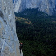 Rock Climbing Photo: Mac lowering out on the Window Pane Flake early in...