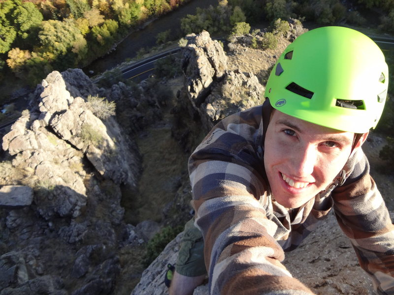 At the top of Serotonin in Logan Canyon.