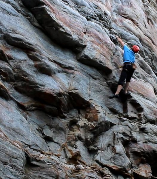 Greg Loomis sticking the crux move on Middle Road
