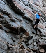 Rock Climbing Photo: Greg Loomis sticking the crux move on Middle Road