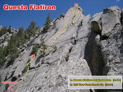 Rock Climbing Photo: Routes on the Questa Flatiron