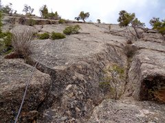 Rock Climbing Photo: Looking up P1. The route starts up the trough to t...