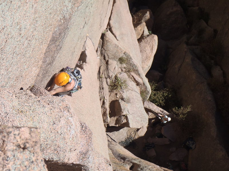 Jean Spencer heads up Center Route, on Cynical Pinnacle