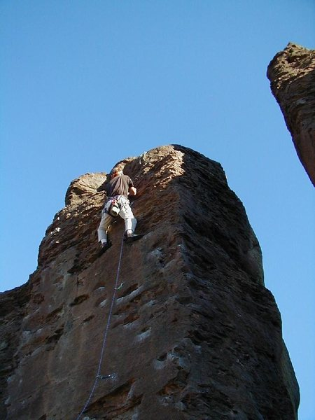 Rock Climbing Photo: The professor on Medicine Man, September 2000.