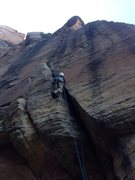 Rock Climbing Photo: A true Dunce, Lee heading up !