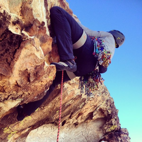 Pulling the roof at the start of Pitch 9.  Super fun and exposed!