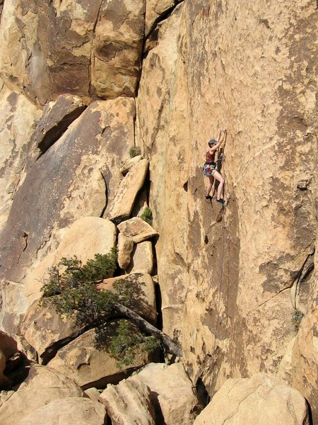 Maggie at the crux of Dos Chichis, April 2004