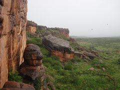 Rock Climbing Photo: A rainy day at Badami temple area.