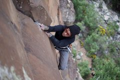 Rock Climbing Photo: Styling the top crux...