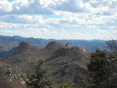 Rock Climbing Photo: Turkey Rocks as seen from the saddle of Sheeprock....
