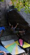 Rock Climbing Photo: Steve locking it in.