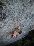 Rock Climbing Photo: Trying to climb and looking a little bug eyed.  Ph...