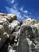 Rock Climbing Photo: Looking up at Pitch 1 of SE Face.  Rated 5.4 but s...