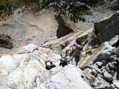 Rock Climbing Photo: Looking down at Pitch 2 in the chimney section.