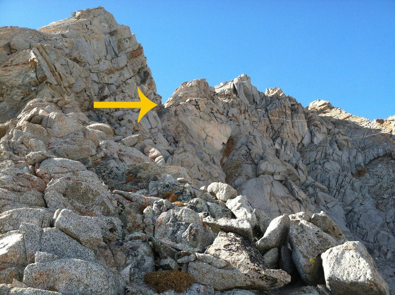 Looking up at the notch where we gained the ridge.  A little exposed climbing but rock was mostly solid and easy.