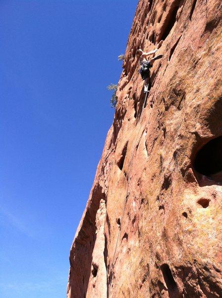 Rock Climbing Photo: CJ midway through Men at Work.