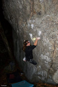 Rock Climbing Photo: Joe working the crux the night of the First Ascent...
