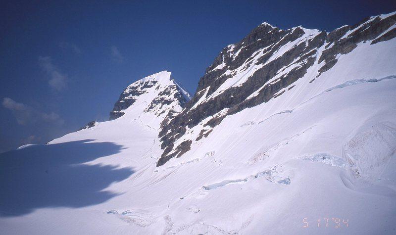 Bryce main peak on left. We bypassed center peak on glacier because of time concerns.