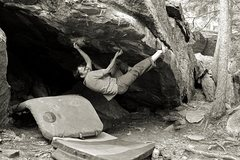 Rock Climbing Photo: Crimps for the hands, double toe hooks for the fee...