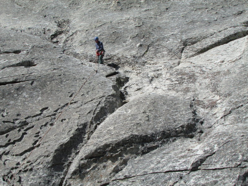 Rock Climbing Photo: At the usual belay stance at end of a short first ...