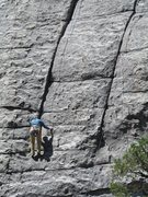 Rock Climbing Photo: Julia starting up the crack portion of Good Times.