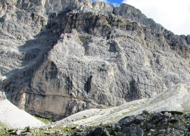 West Face of the Kleiner Lagazuoi, home to many fine climbs.
