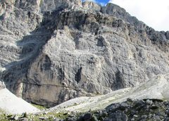 Rock Climbing Photo: West Face of the Kleiner Lagazuoi, home to many fi...