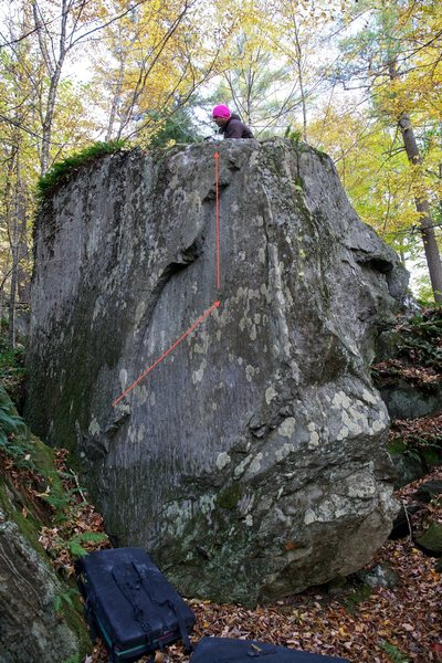 Rock Climbing Photo: This photo shows the general line of travel of 'Th...
