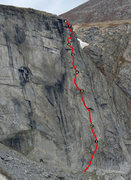 Rock Climbing Photo: The right side of the wall with the route and bela...