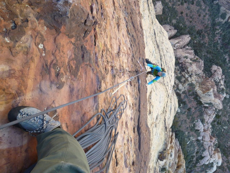 Rock Climbing Photo: Joe approaches the belay on the tightly-bolted P7 ...