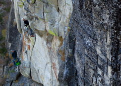 Rock Climbing Photo: A climber contemplates the steep hand-traverse on ...