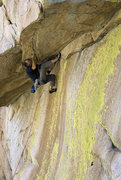 Rock Climbing Photo: Scott Ayers at the roof.  This photo, by James Q M...