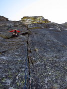 Rock Climbing Photo: First pitch off the main ledge. The route climbs t...